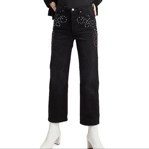 Levi's Studded Ribcage Straight Ankle Denim Jeans
